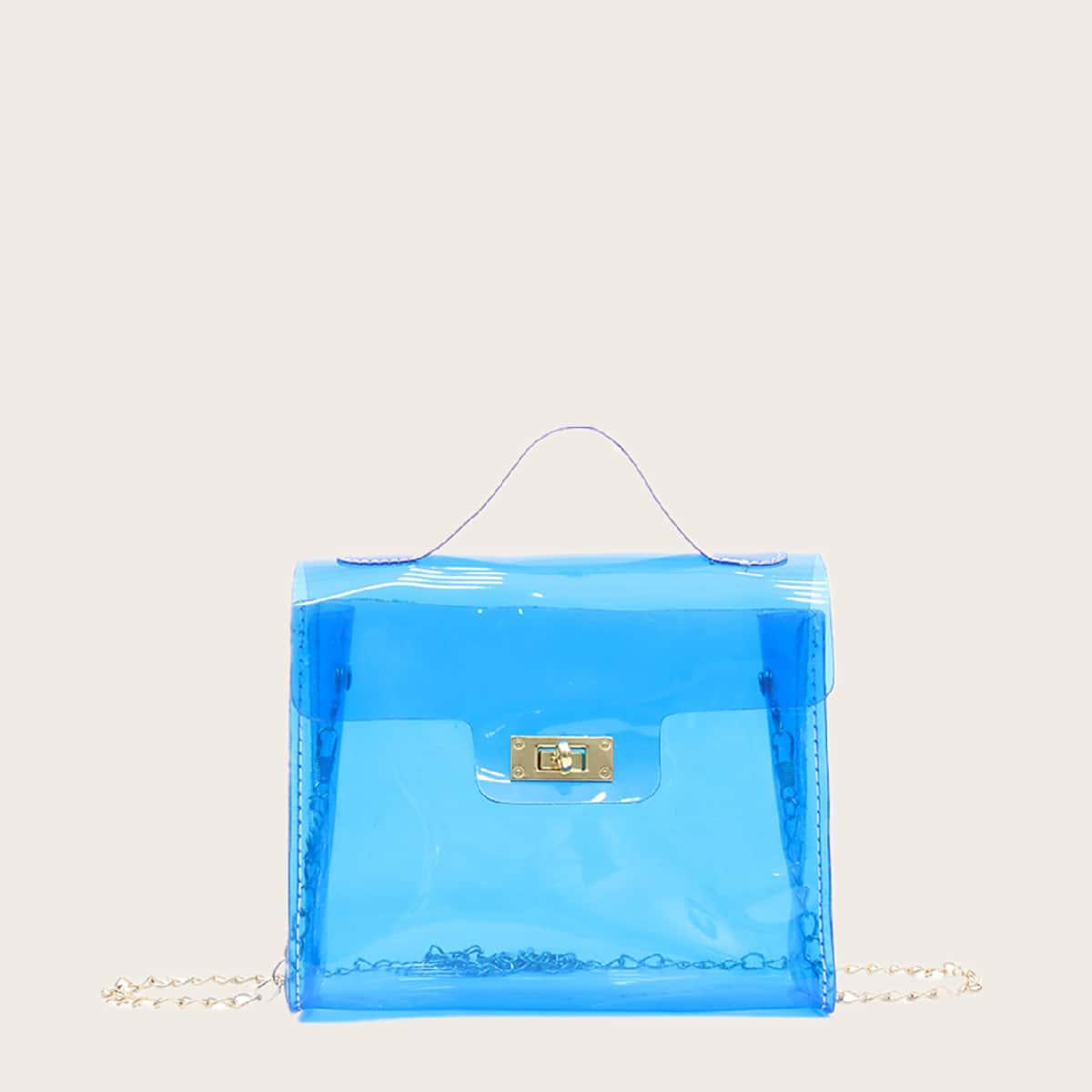 Прозрачная сумка через плечо с цепочкой фото