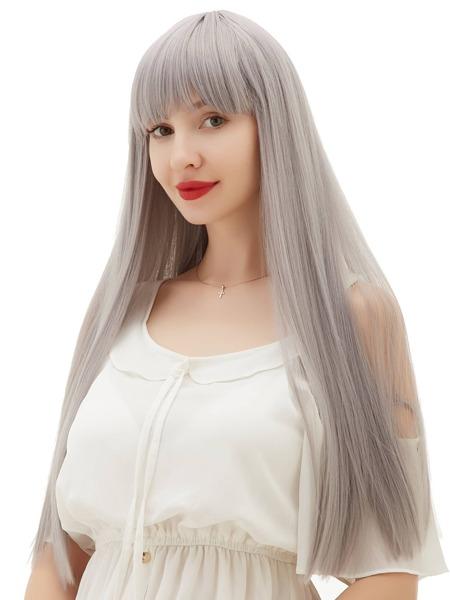 Natural Long Straight Wig With Bang
