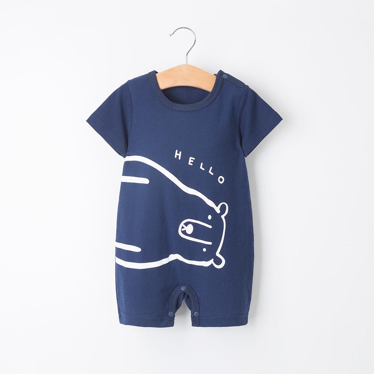 Комбинезон-футболка с текстовым и мультяшным принтом для мальчиков от SHEIN