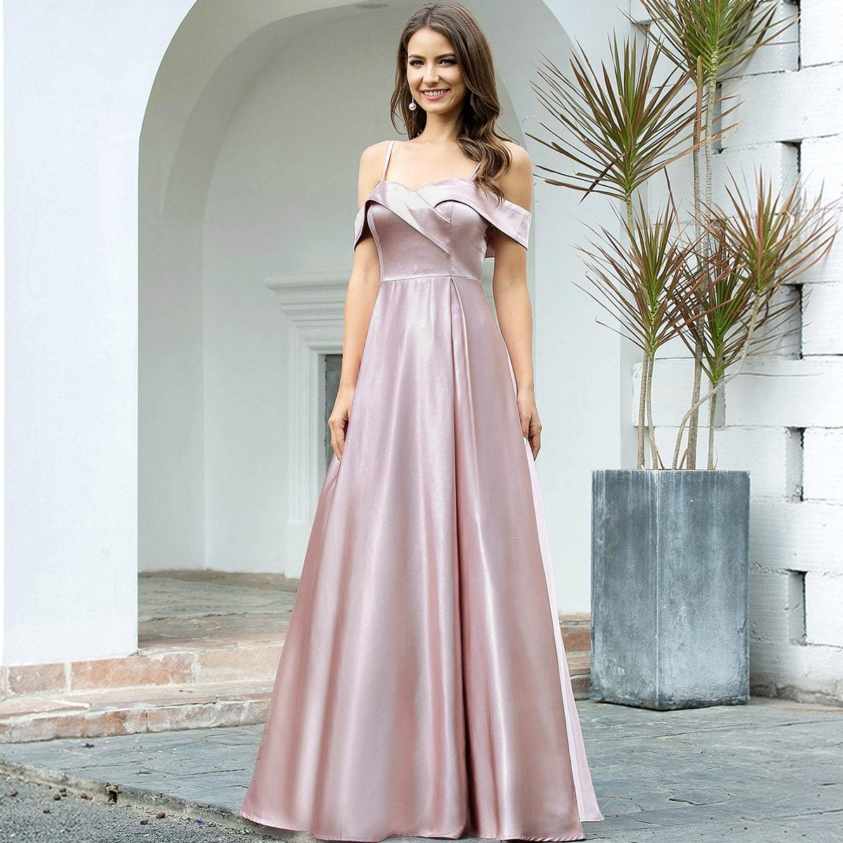 EverPretty Атласное платье с открытыми плечами фото