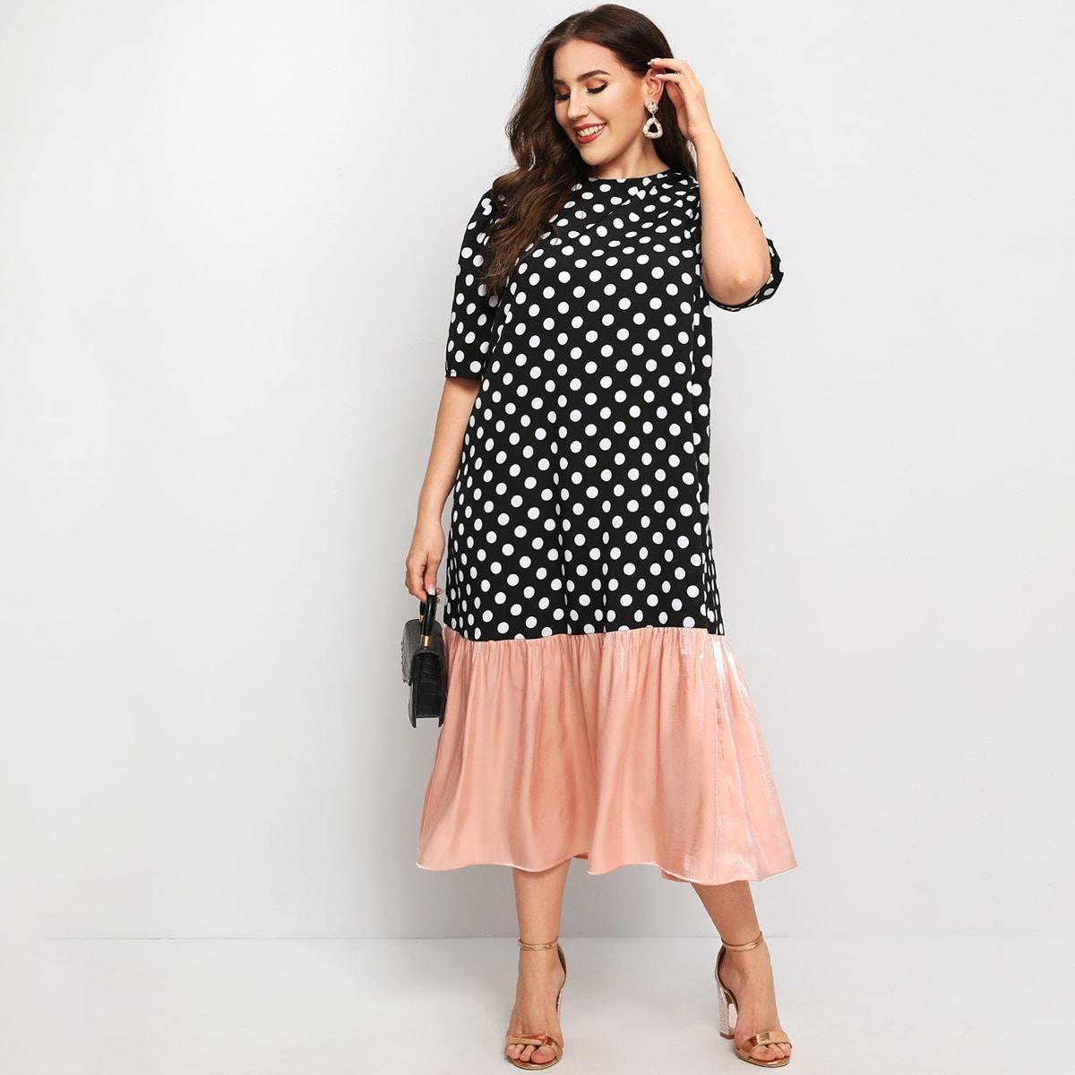 Платье размера плюс в горошек с шелковым краем фото