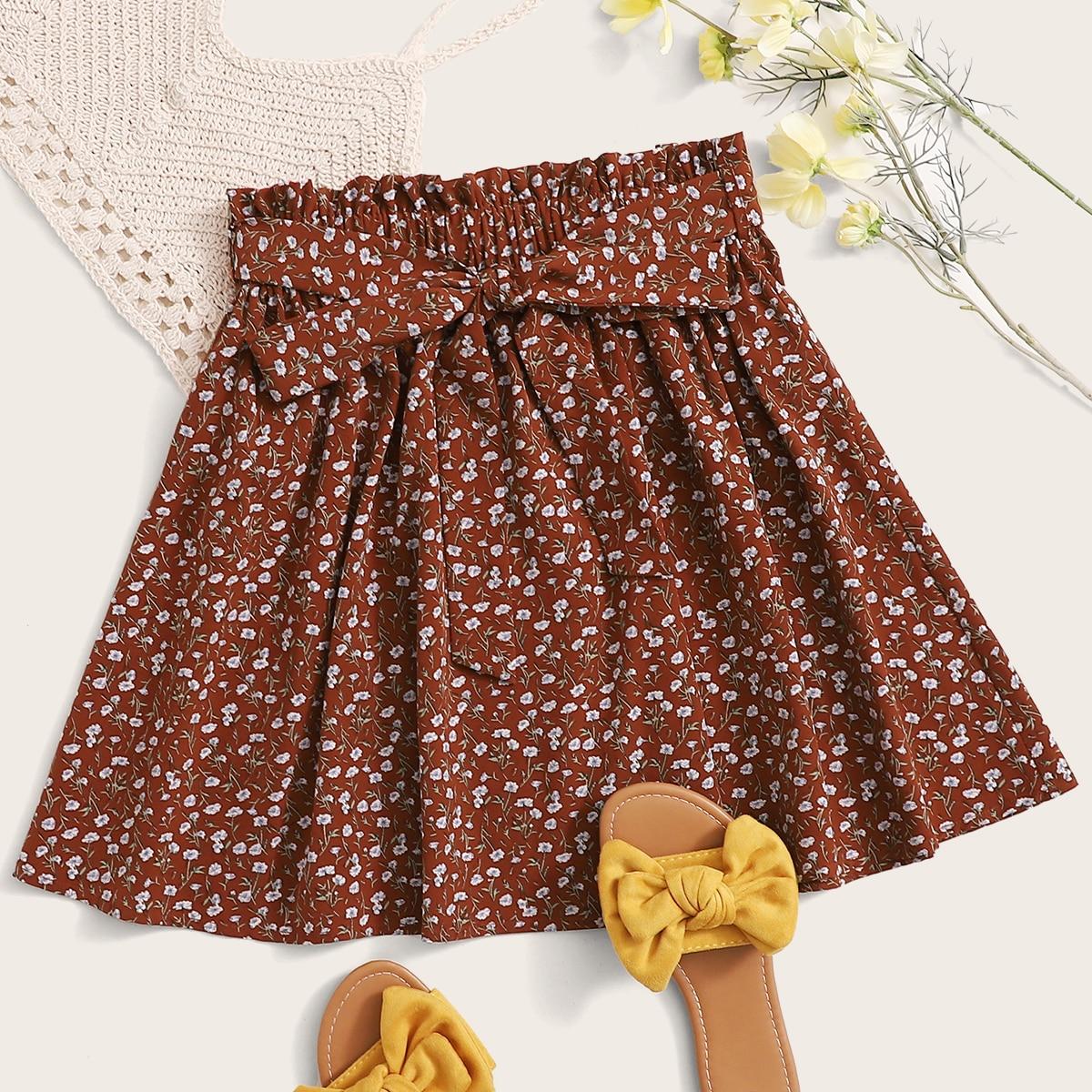 Цветочная юбка с поясом фото