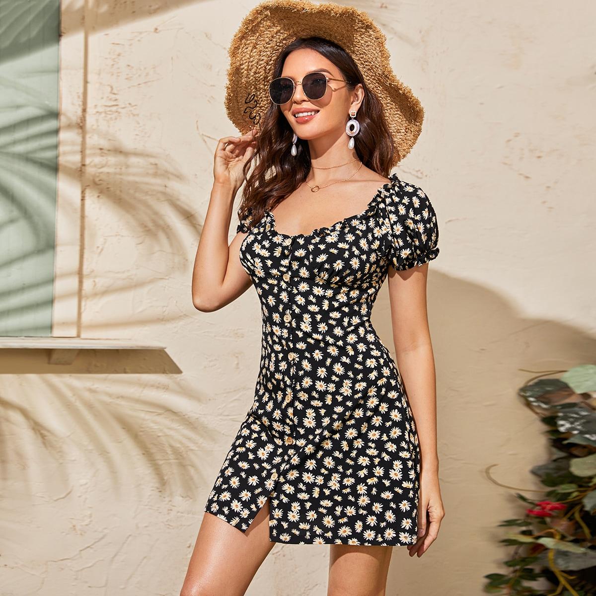 SHEIN / Kleid mit Gänseblümchen Muster und Knöpfen vorn