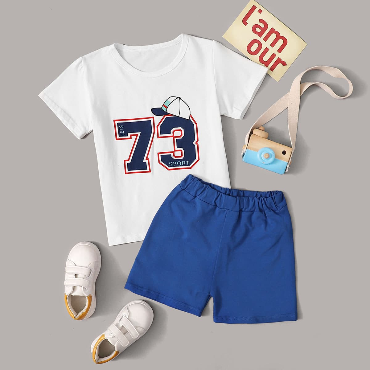 Шорты и футболка с принтом цифры для мальчиков фото