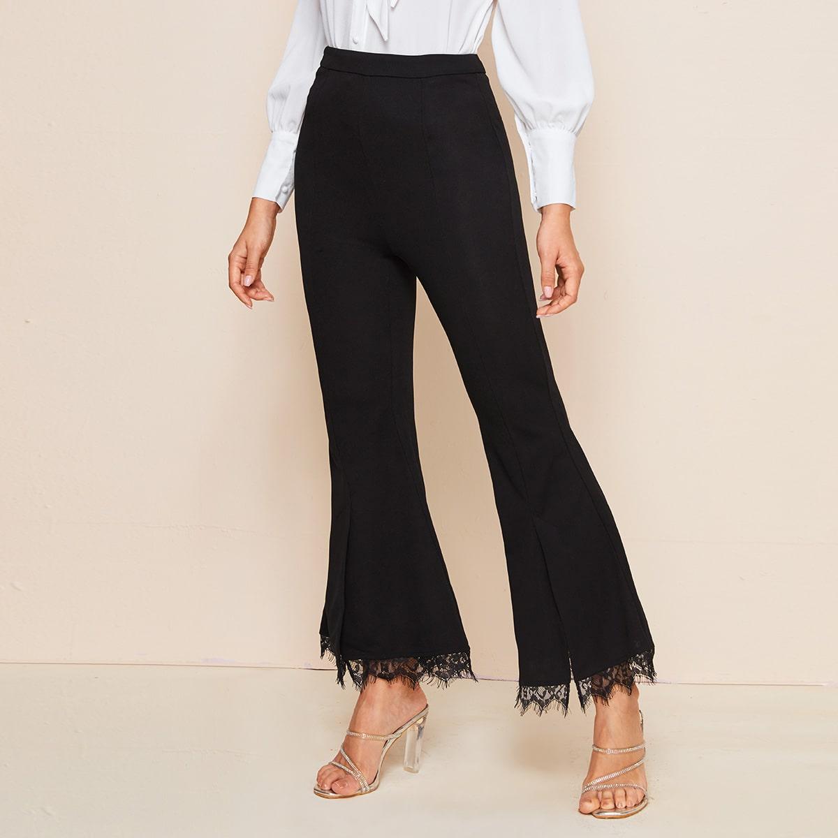 Расклешенные брюки с кружевом фото