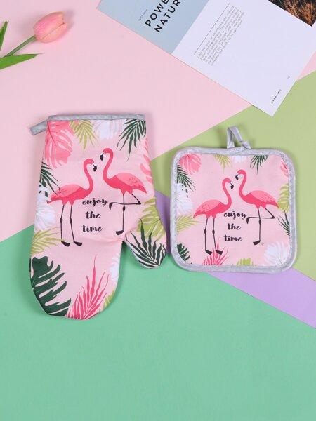 1pc Flamingo Print Heat Proof Glove & Heating Pad
