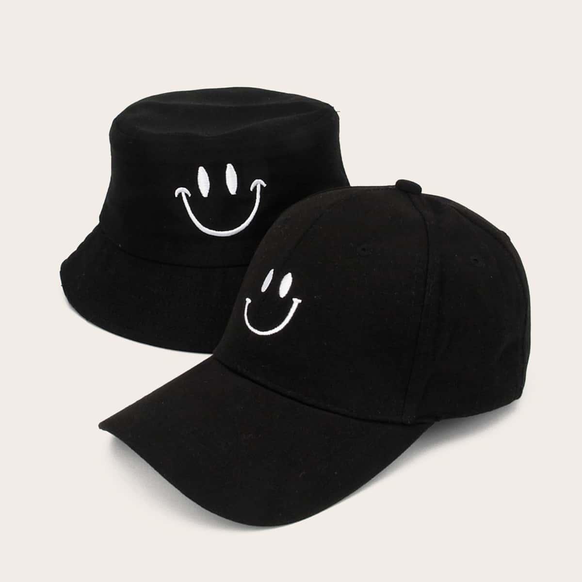Мужская шляпа и бейсболка с вышивкой 2шт от SHEIN