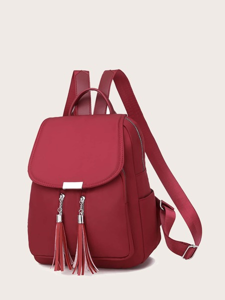 Tassel Charm Flap Backpack