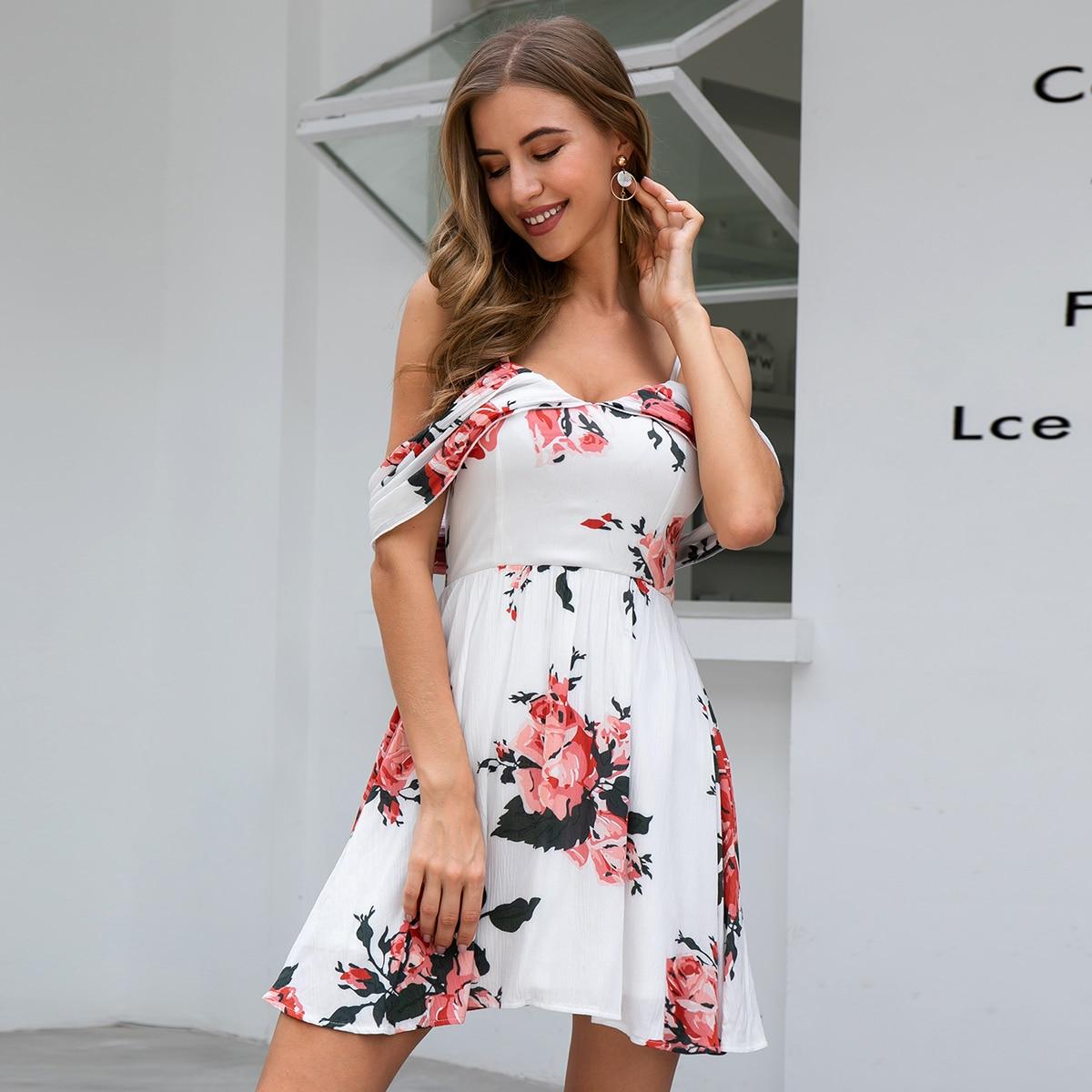 Double Crazy Платье с открытыми плечами и цветочным принтом фото