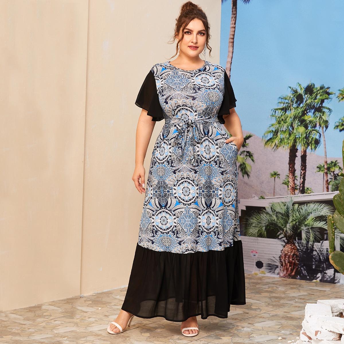 SHEIN / Große Größen - Kleid mit Stamm Muster, Kontrast Einsatz und Gürtel