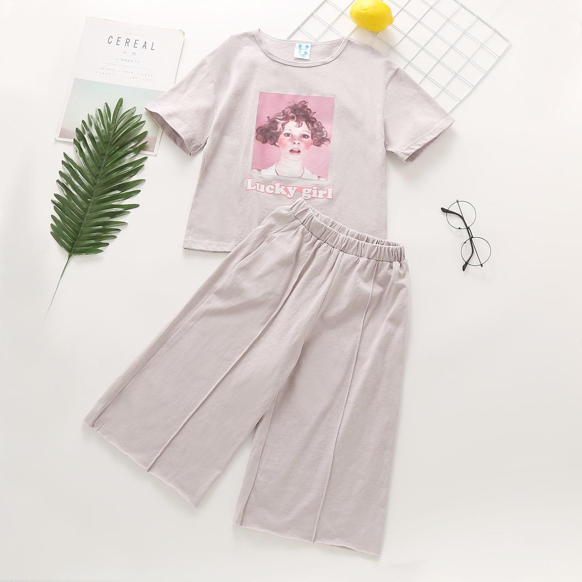 SHEIN / Mädchen T-Shirt mit Figur Grafik und Hosen mit weitem Beinschnitt