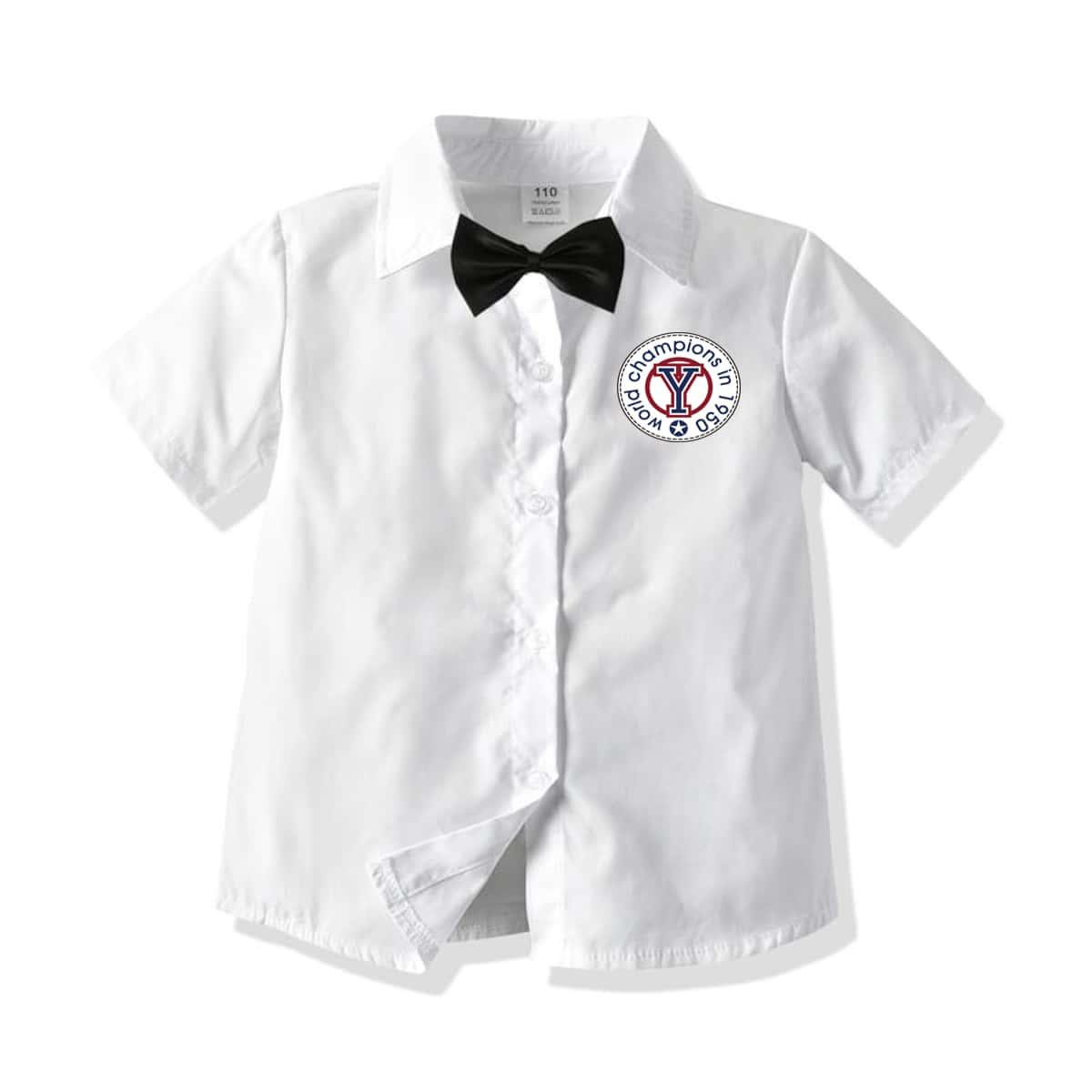 Рубашка с бантом и текстовым принтом для мальчиков от SHEIN