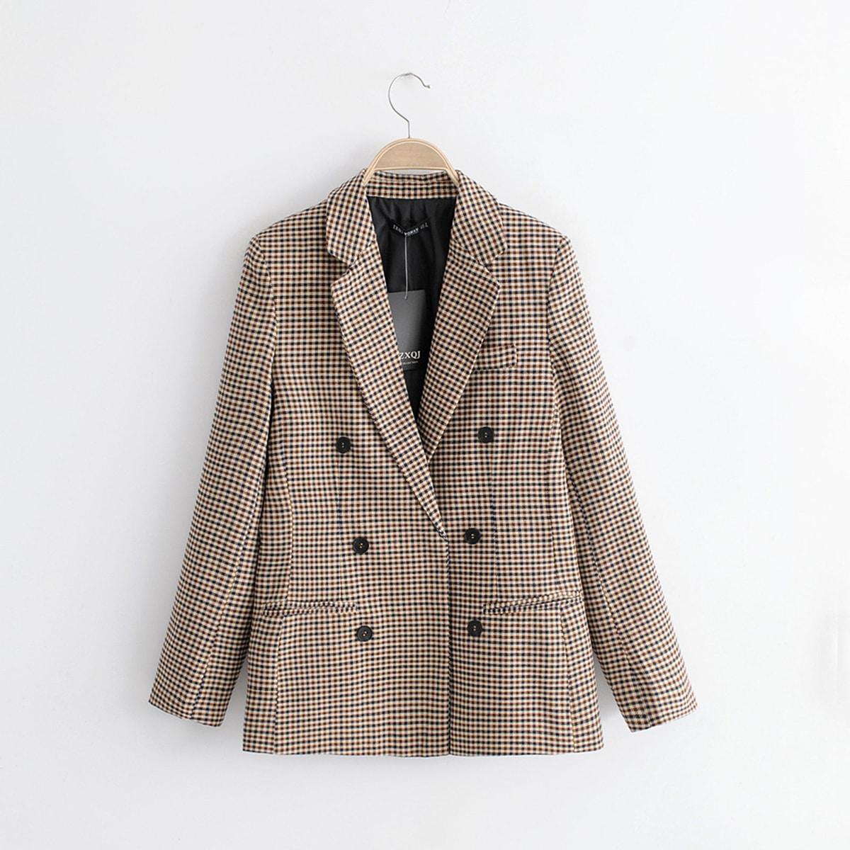 Двубортный пиджак в клетку с воротником-лацканом от SHEIN