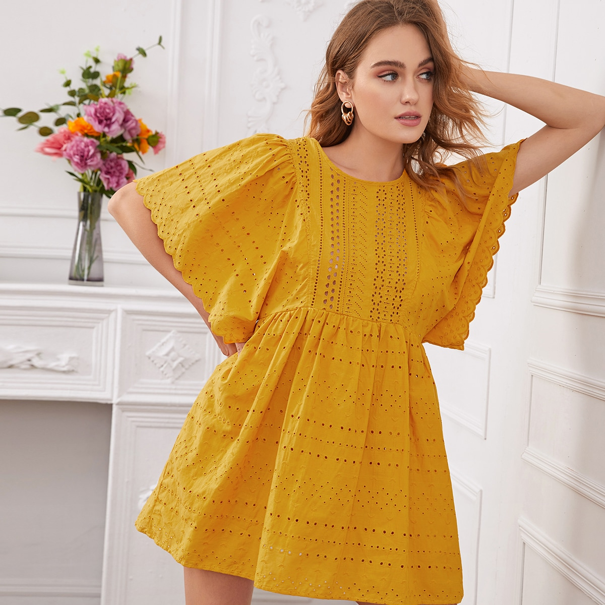 SHEIN / Eyelet Embroidery Butterfly Sleeve Smock Dress