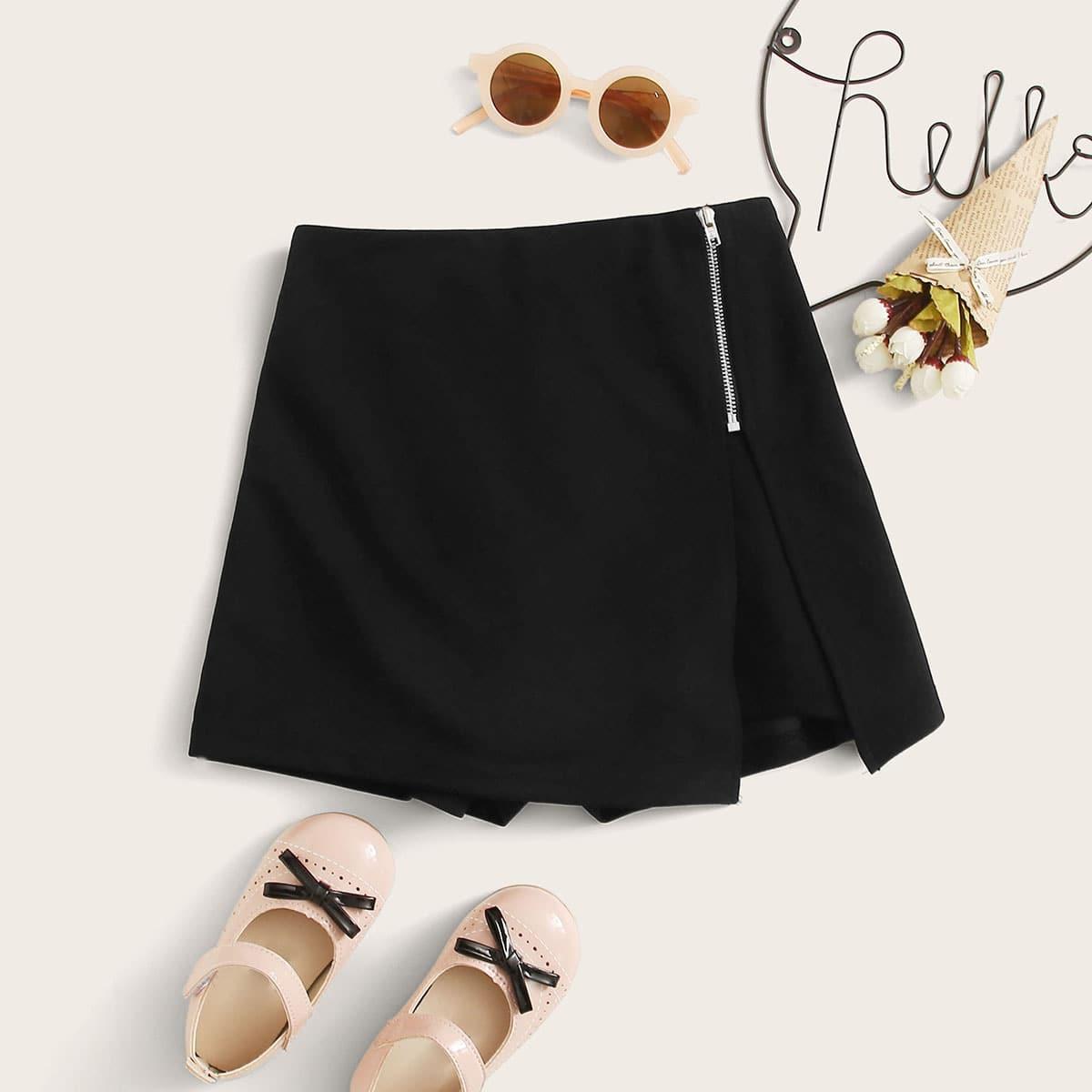 Юбка-шорты на молнии для девочек от SHEIN