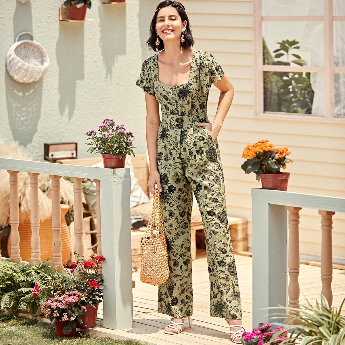 SHEIN / Mono culottes con cinturón con estampado floral