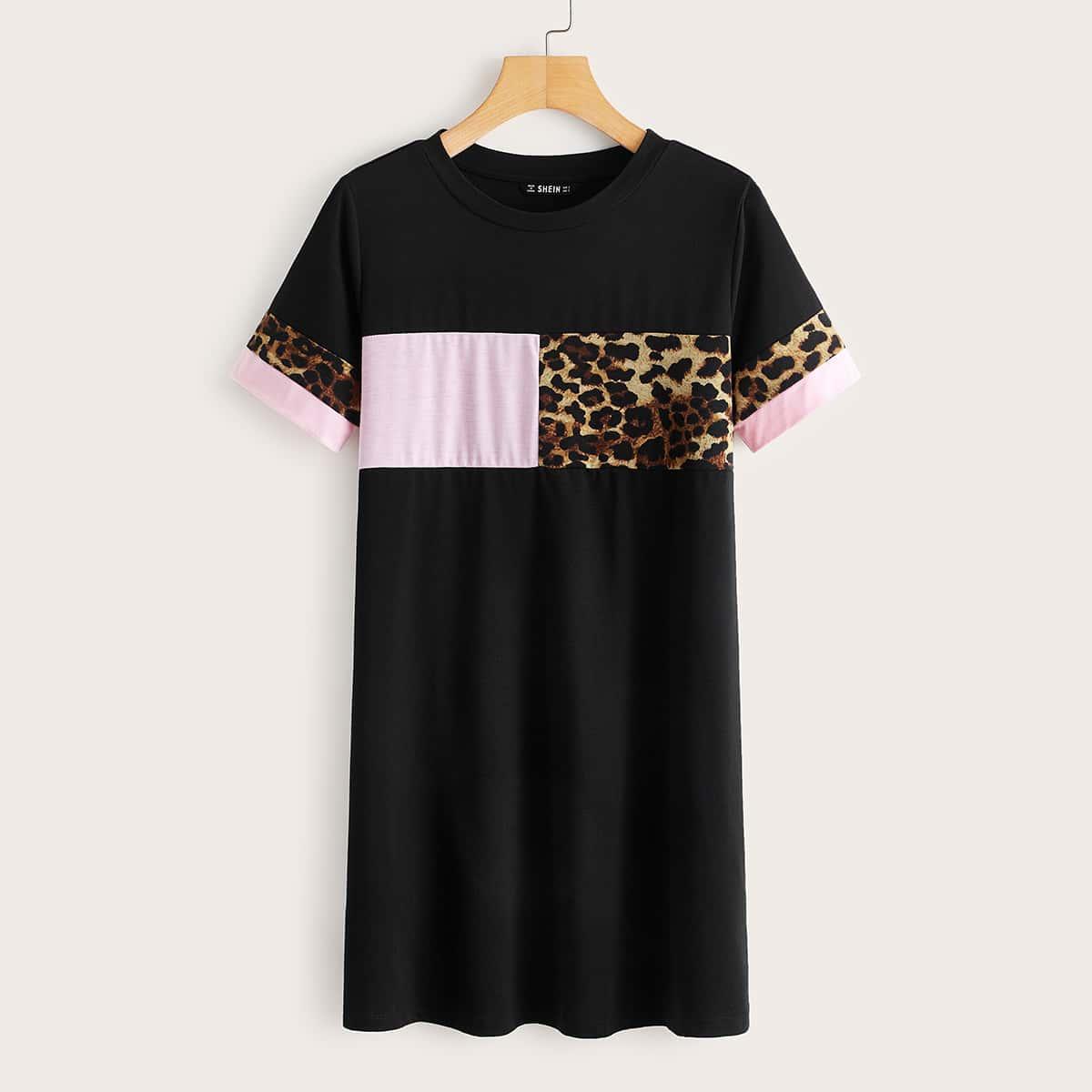 Контрастное леопардовое платье-футболка фото