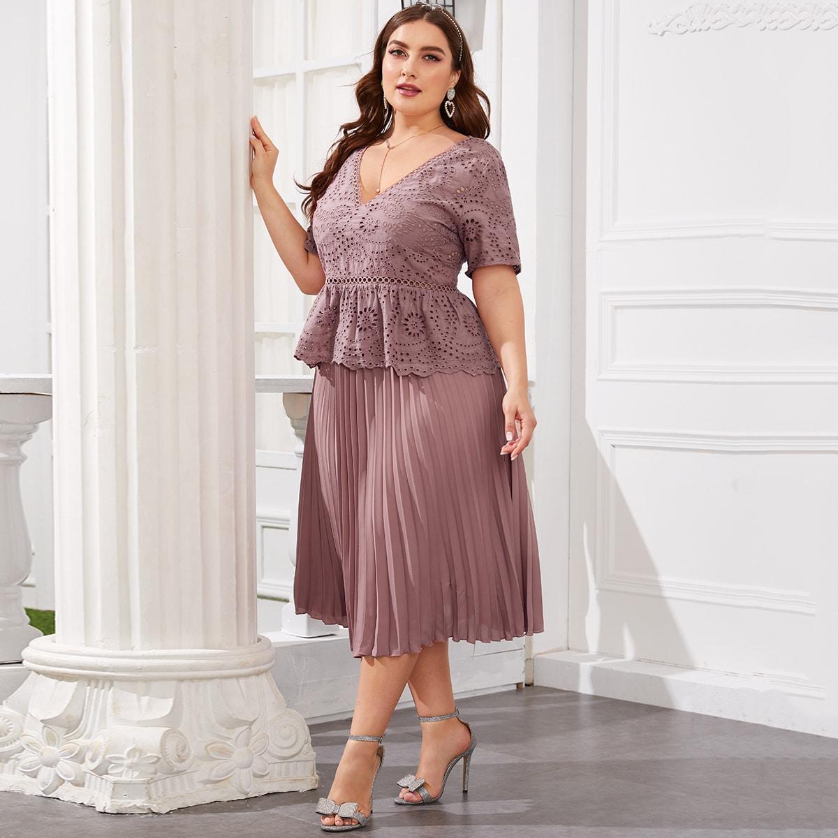 Плиссированная юбка и топ размера плюс с вышивкой фото