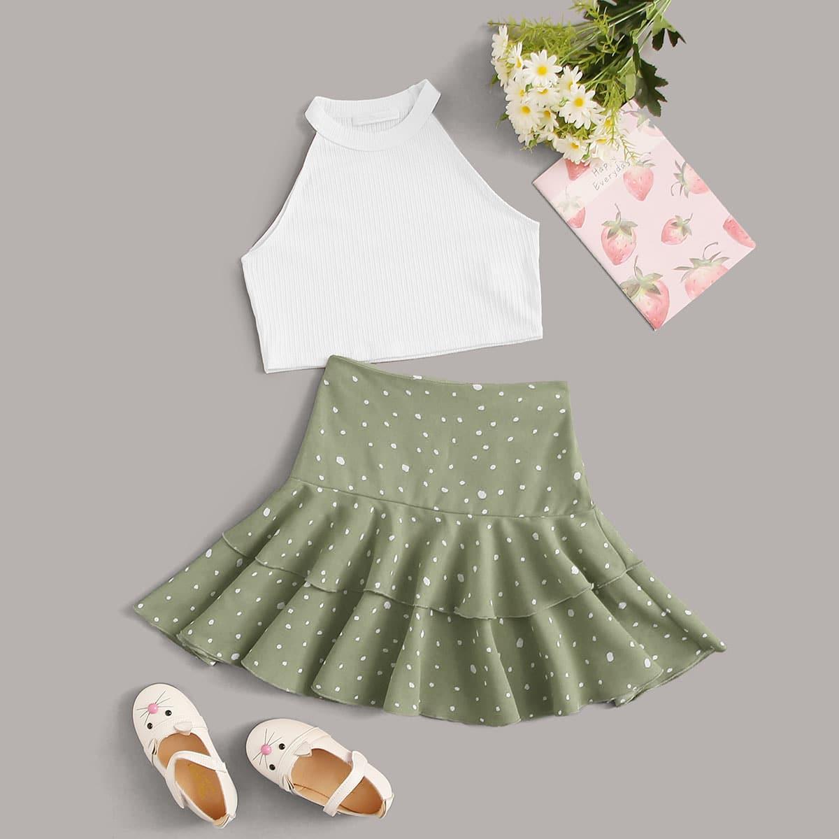 Трикотажный топ-халтер и юбка с далматинским принтом для девочек фото