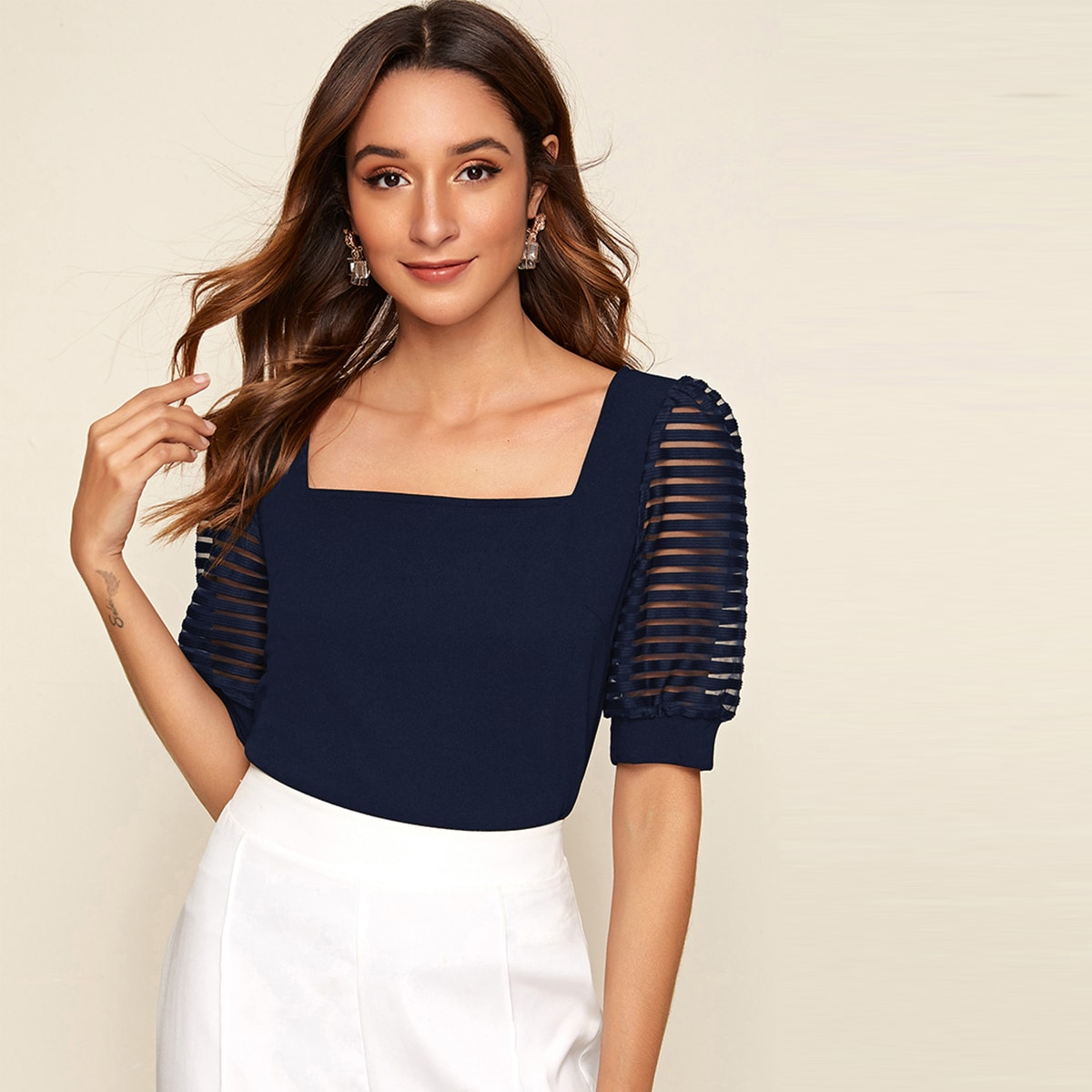 SHEIN / Square Neck Mesh Striped Sleeve Top