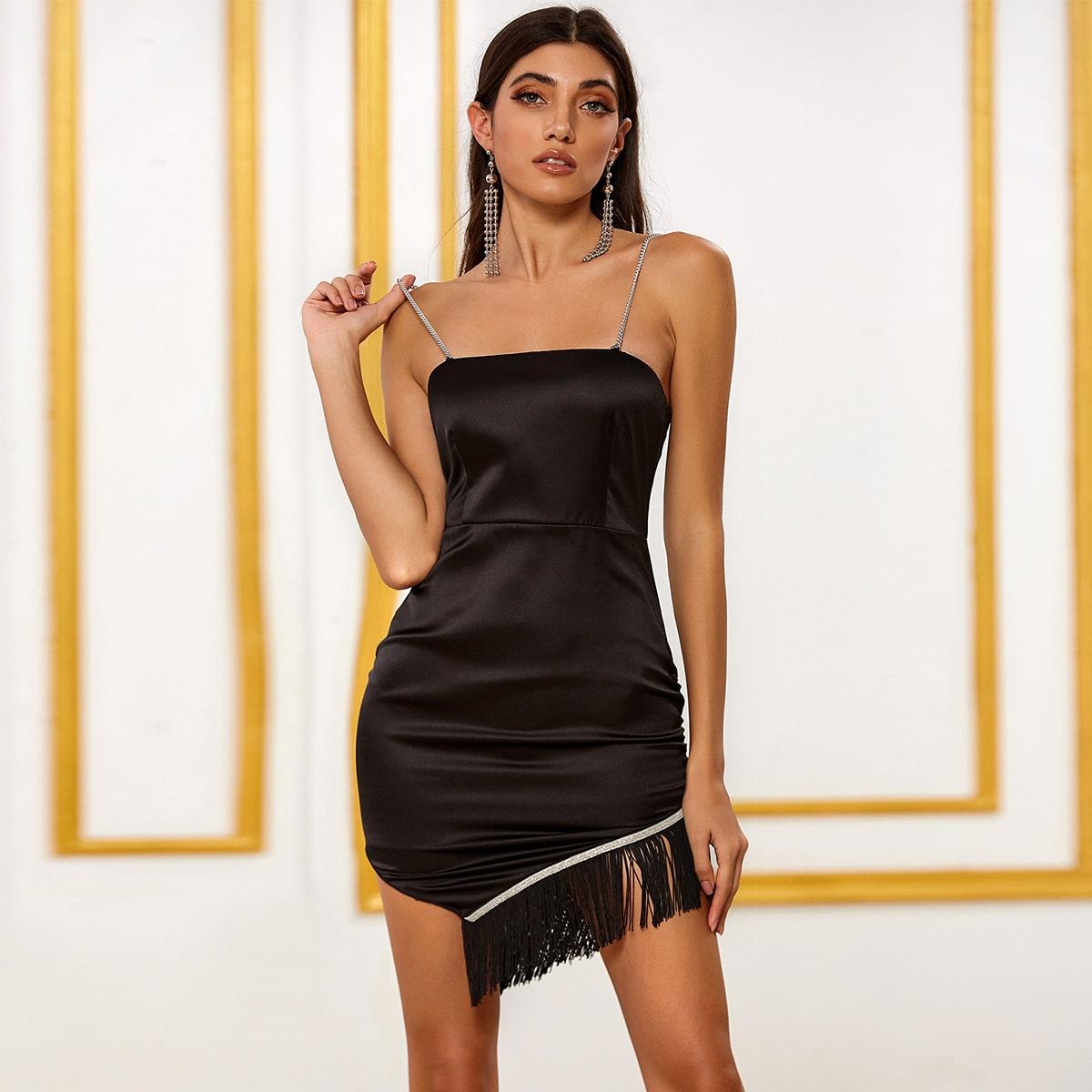 DKRX Атласное платье с цепочкой и бахромой фото