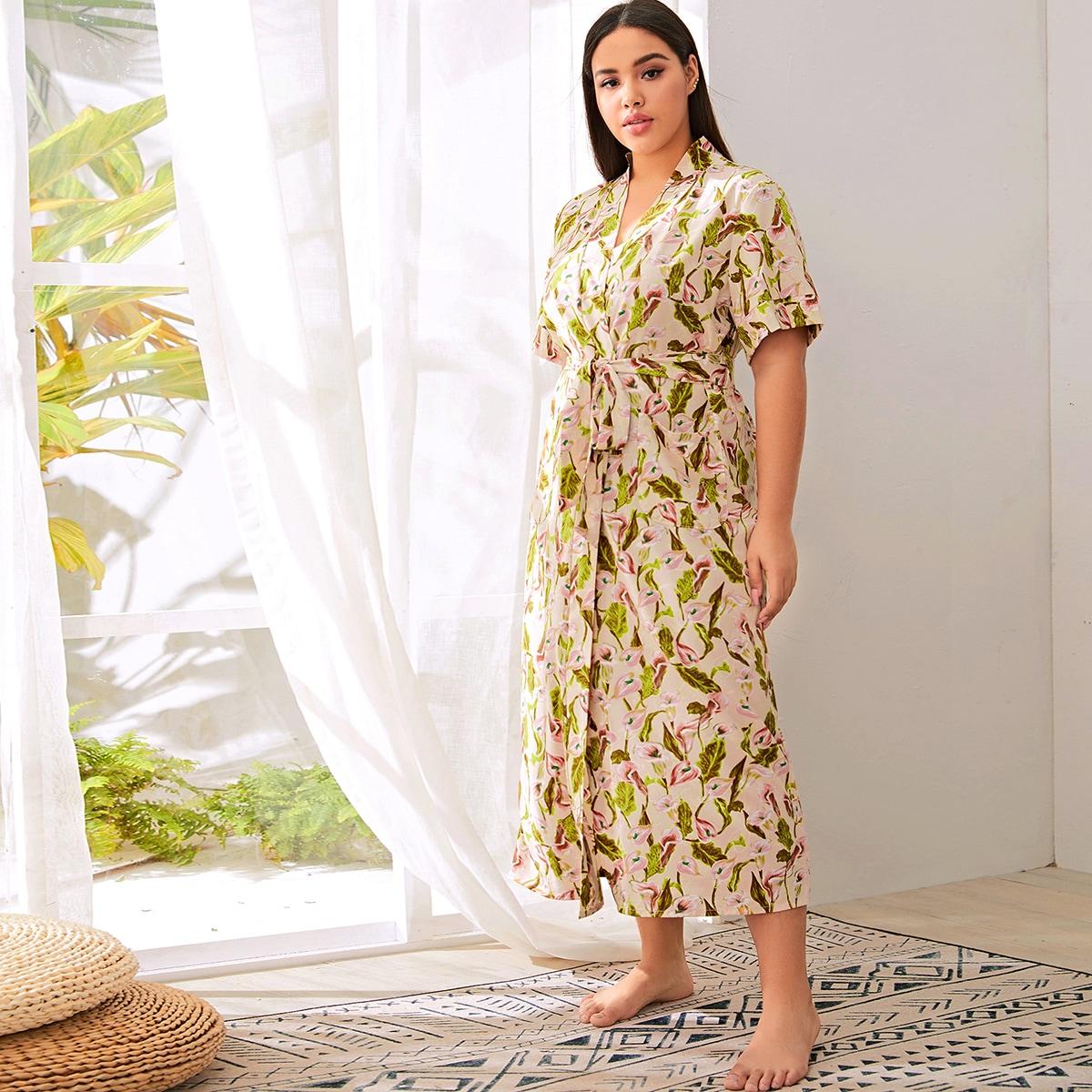 Цветочный халат размера плюс с поясом от SHEIN