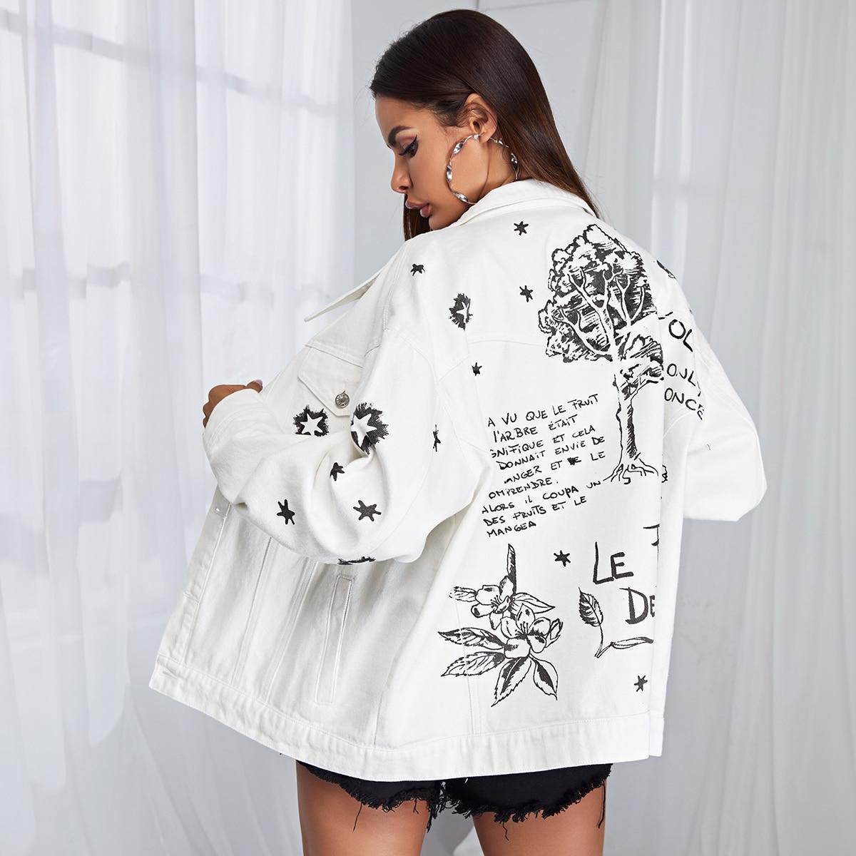 Джинсовая куртка с текстовым принтом