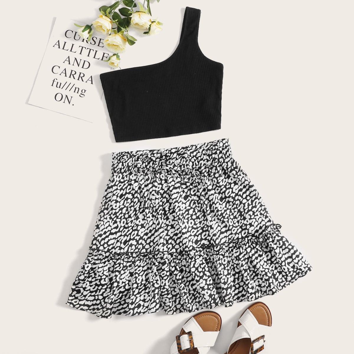 SHEIN / Conjunto top corto de un hombro con falda con estampado ribete fruncido
