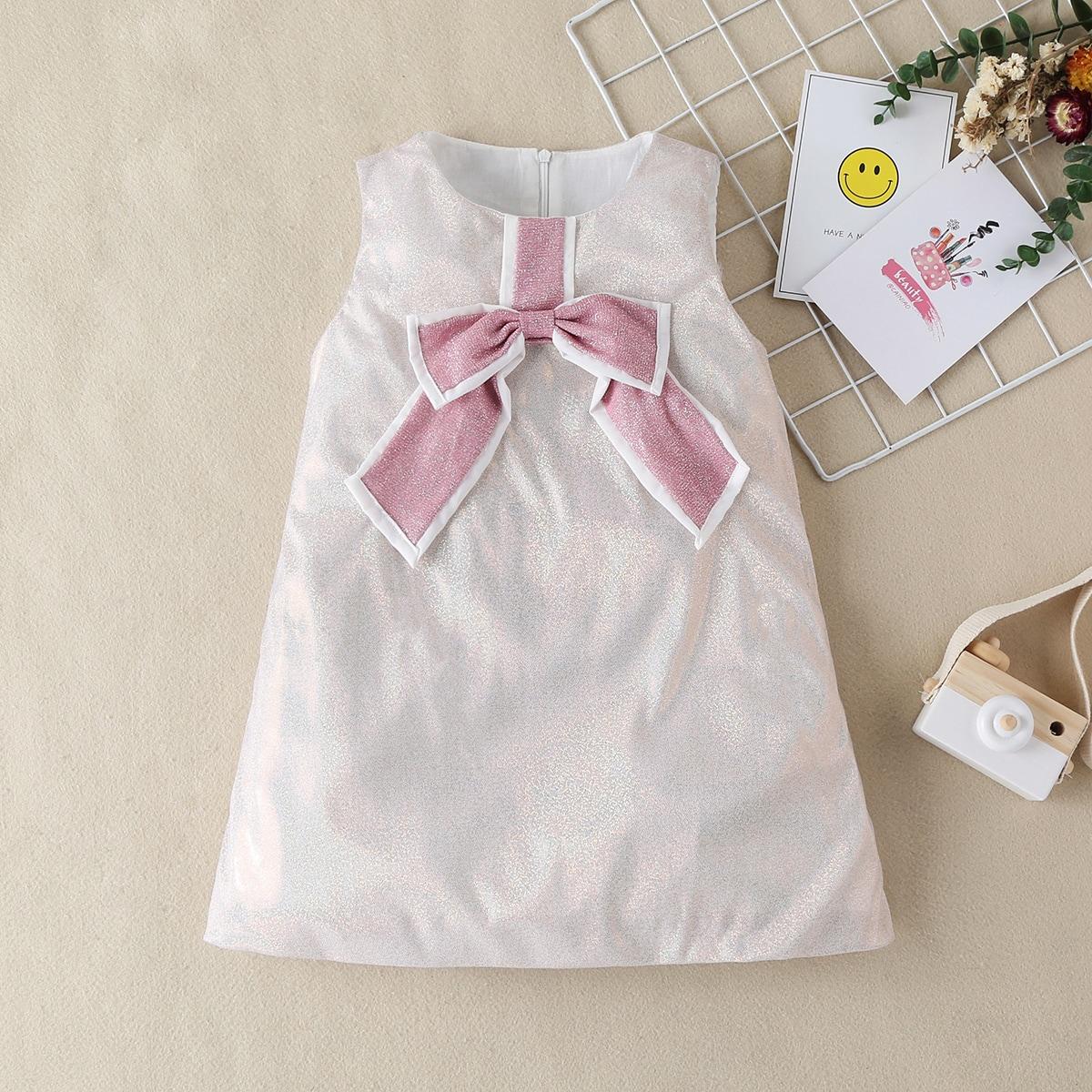 Блестящее платье-туника с бантом для девочек от SHEIN