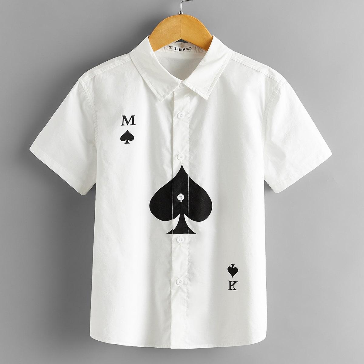 Рубашка с текстовым принтом для мальчиков от SHEIN