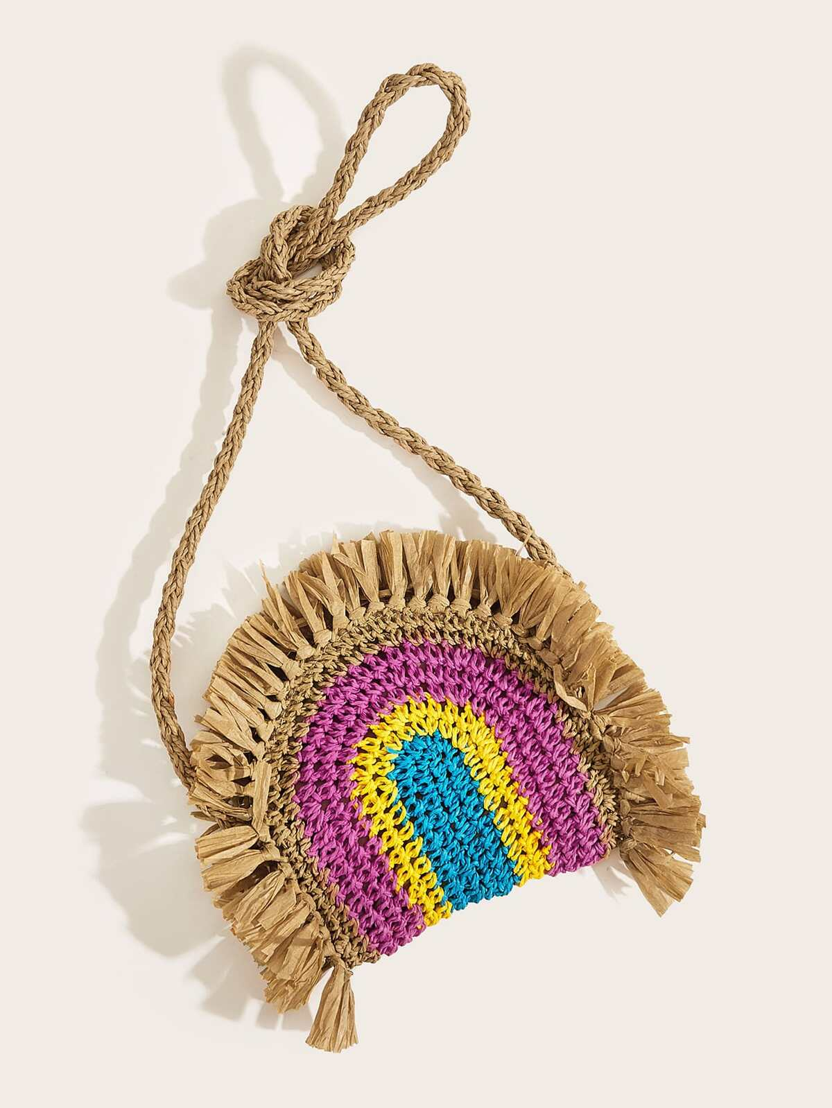 Fringe Trim Color-block Braided Crossbody Bag
