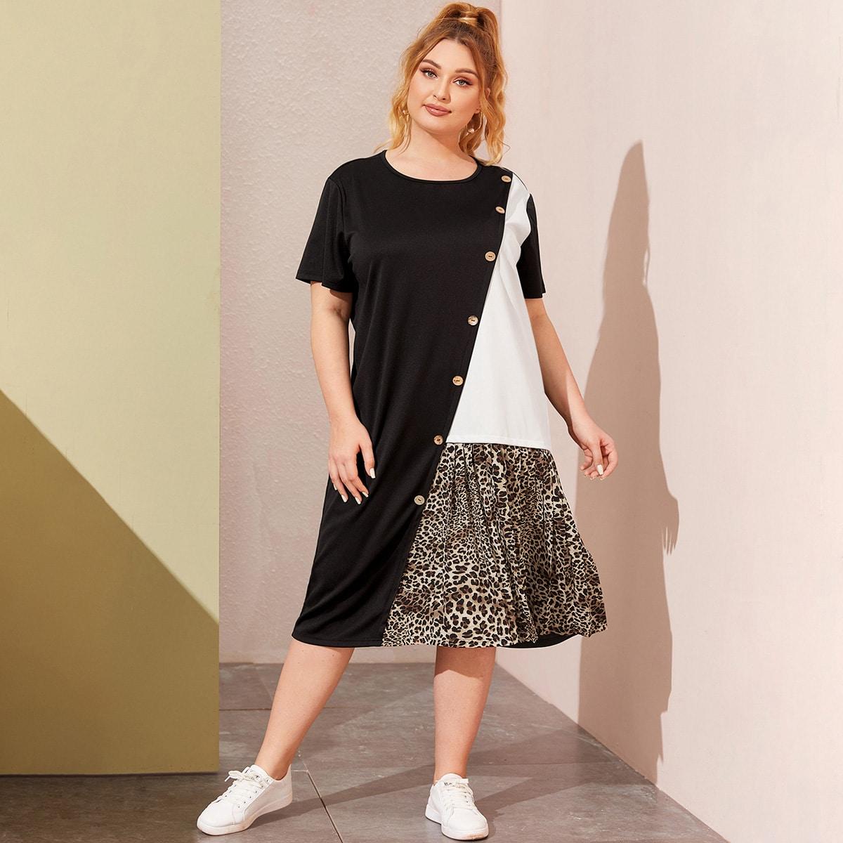 Контрастное леопардовое платье-футболка размера плюс с пуговицами фото