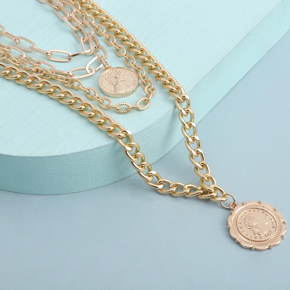 Мужское многослойное ожерелье с декором итальянской и австралийской монеты от SHEIN