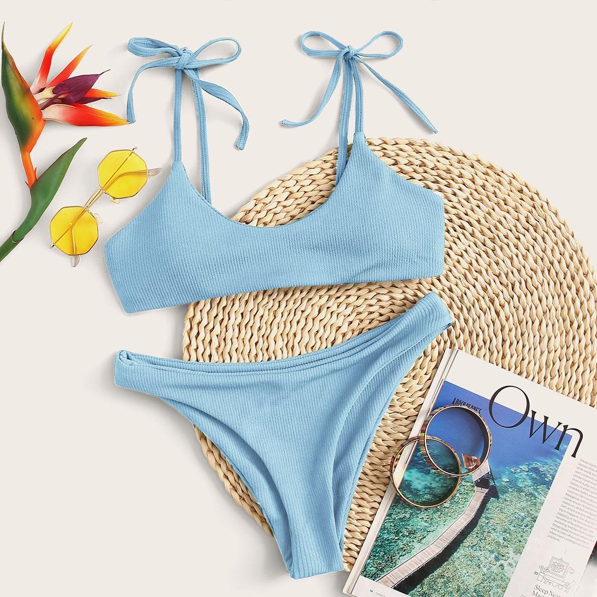 Bañador bikini de hombros con cordón de canalé