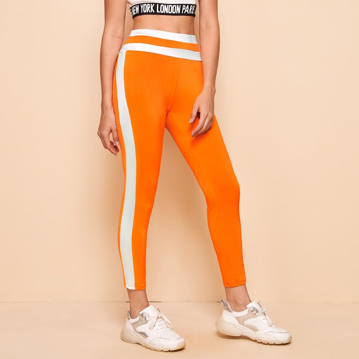 SHEIN / Leggings de cintura alta con costura lateral en contraste