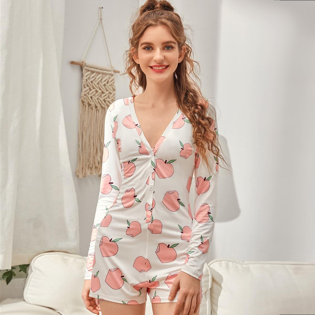 SHEIN / Mono de pijama con botón delantero con estampado de melocotón