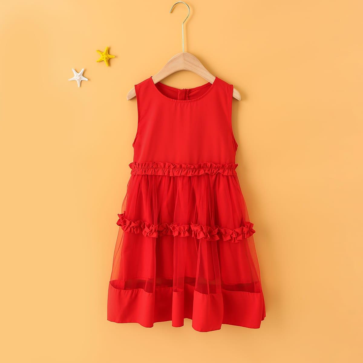 SHEIN / Toddler Girl Frill Mesh Panel A-line Dress