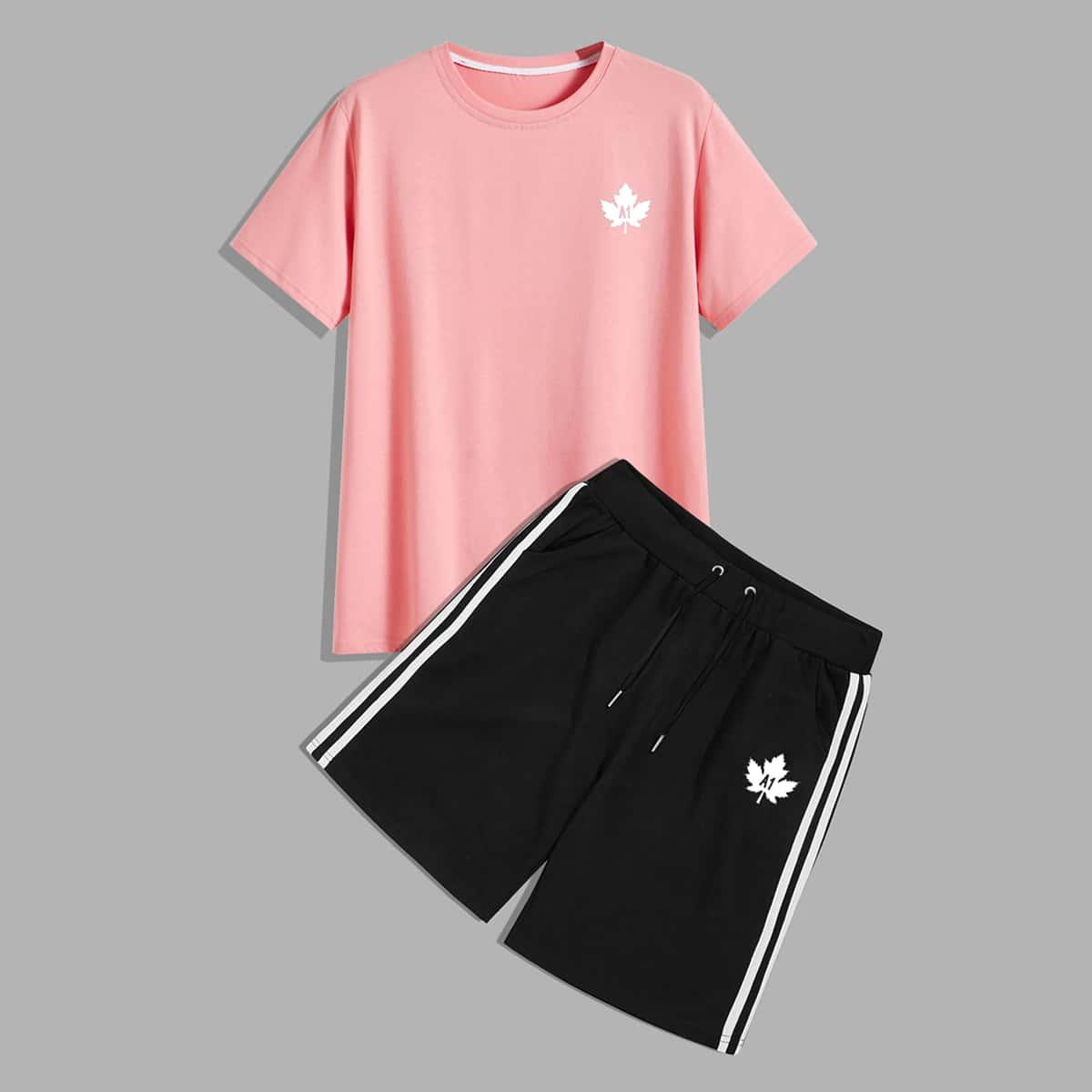 Мужские шорты и футболка с оригинальным принтом от SHEIN