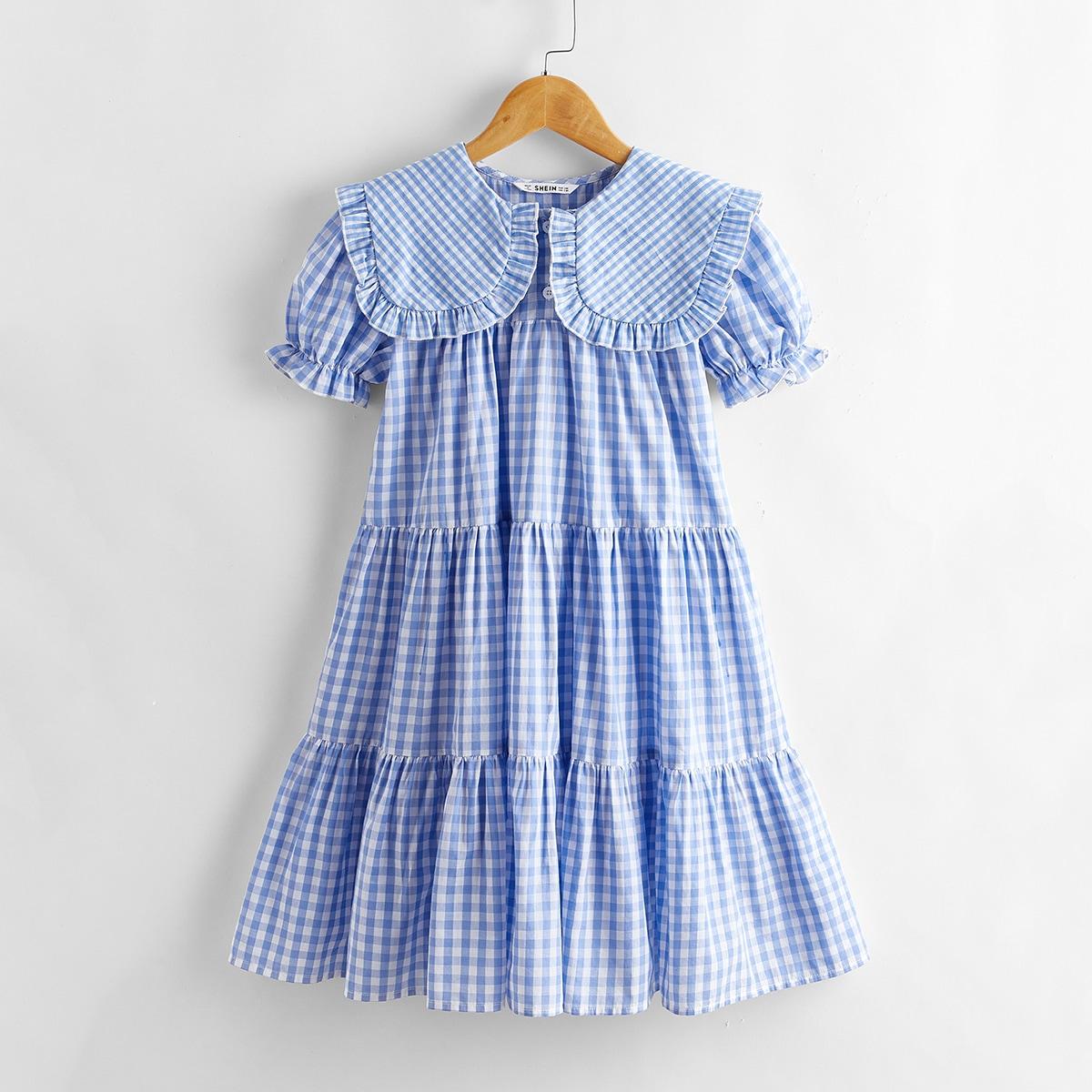 Многослойное платье в клетку для девочек фото