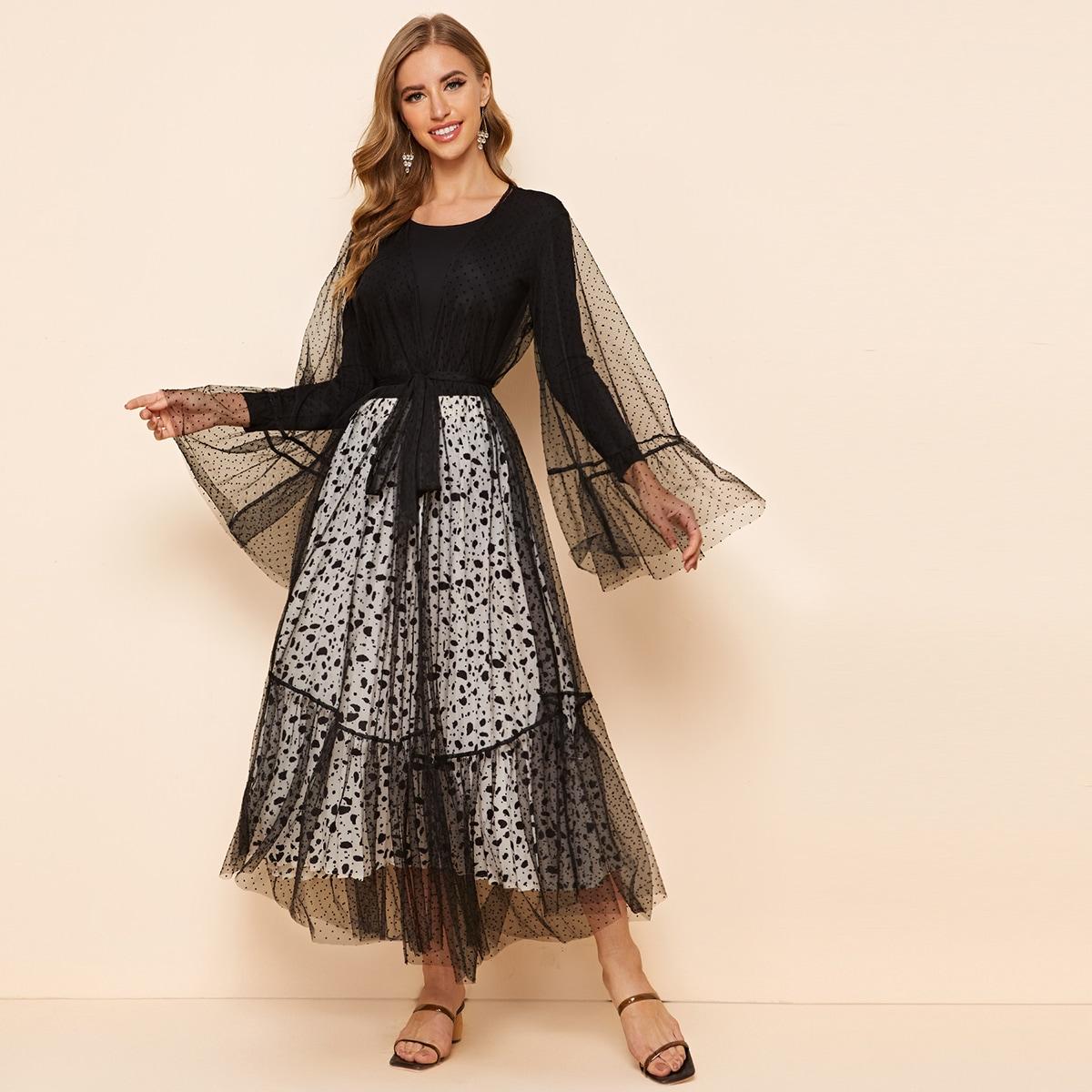 Прозрачное сетчатое кимоно с поясом фото