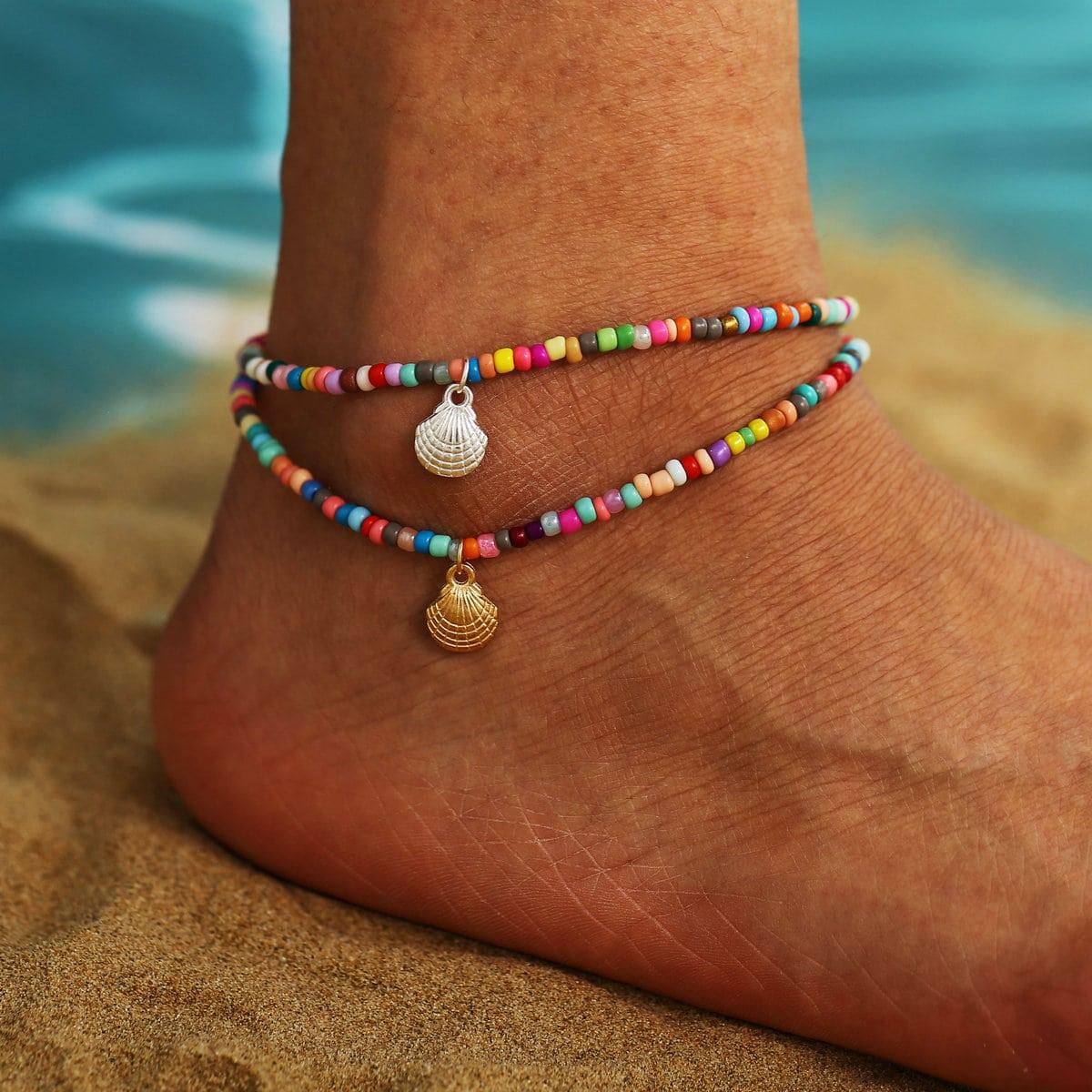 SHEIN / 2 Stücke Fußkette mit Muschel Dekor
