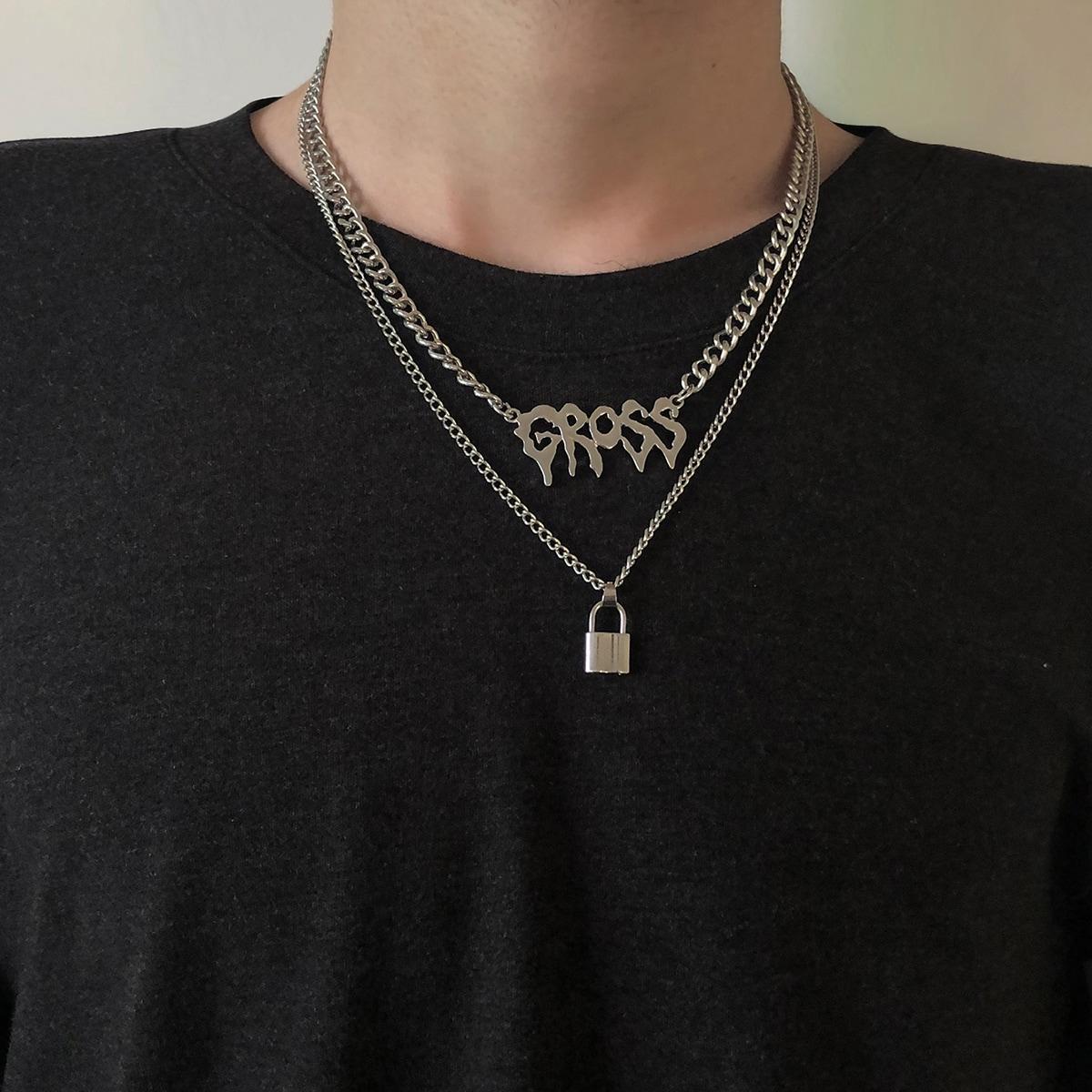 2шт мужское ожерелье с подвеской от SHEIN