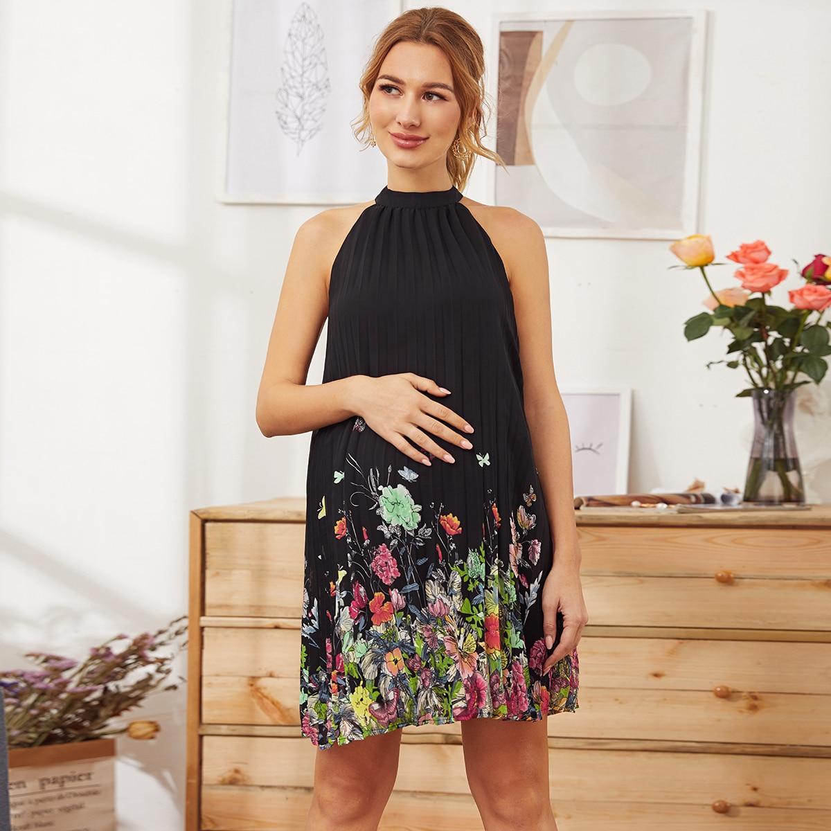 Maternity Плиссированное платье с цветочным принтом от SHEIN