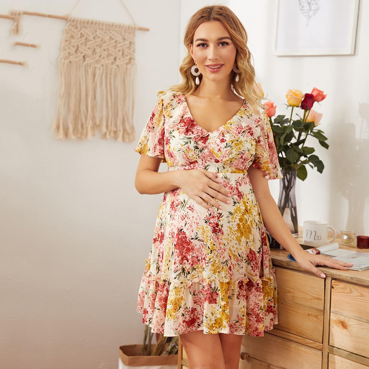 Maternity Платье с v-образным вырезом на шнуровке от SHEIN