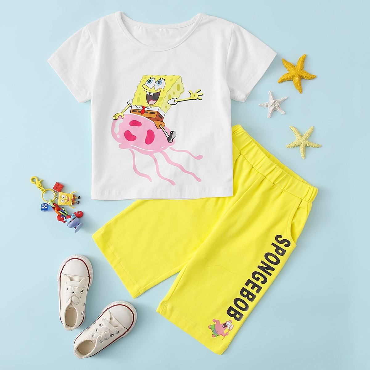 SHEIN X SpongeBob Kleinkind Jungen T-Shirt mit Karikatur Grafik und Shorts