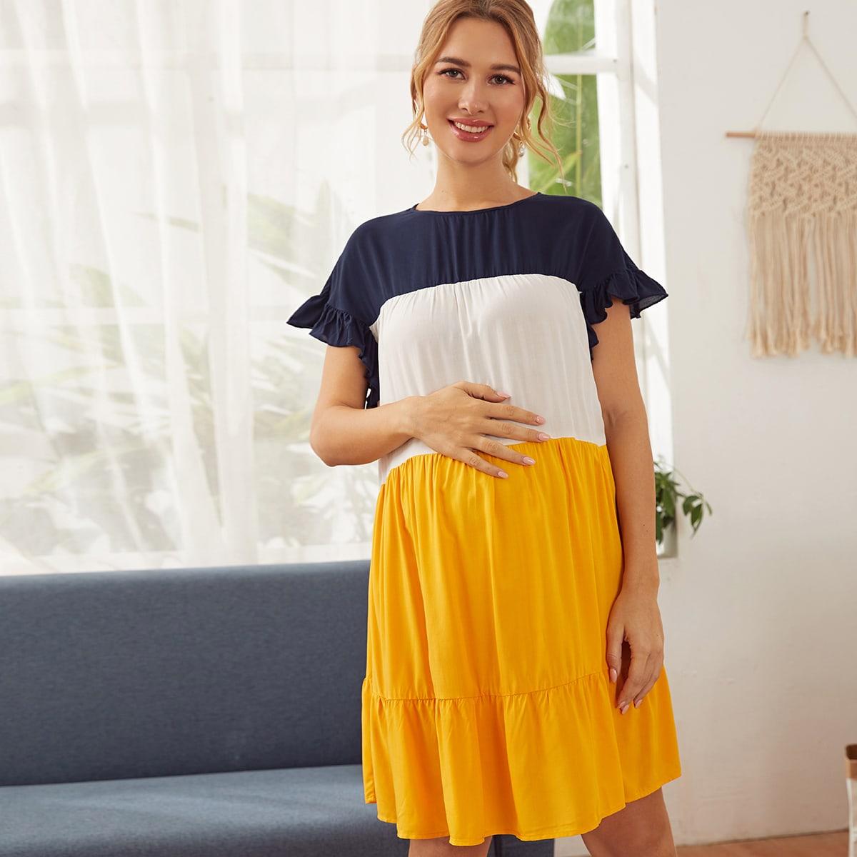 Maternity Контрастное платье с оборками от SHEIN