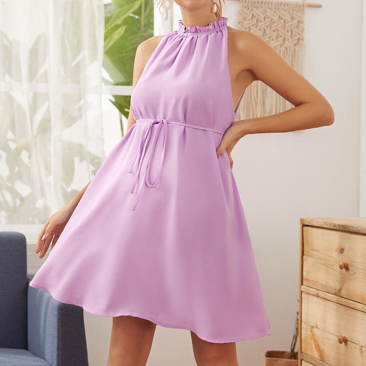 Maternity Платье с оригинальным вырезом и поясом от SHEIN