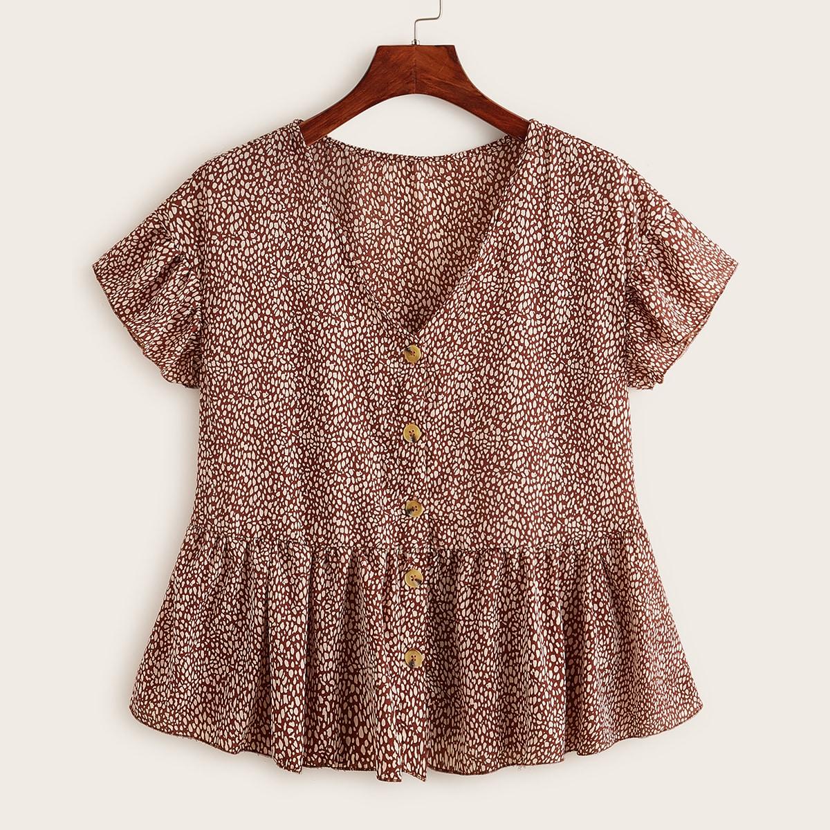 SHEIN / Übergroße Bluse mit Muster und Knöpfen vorn