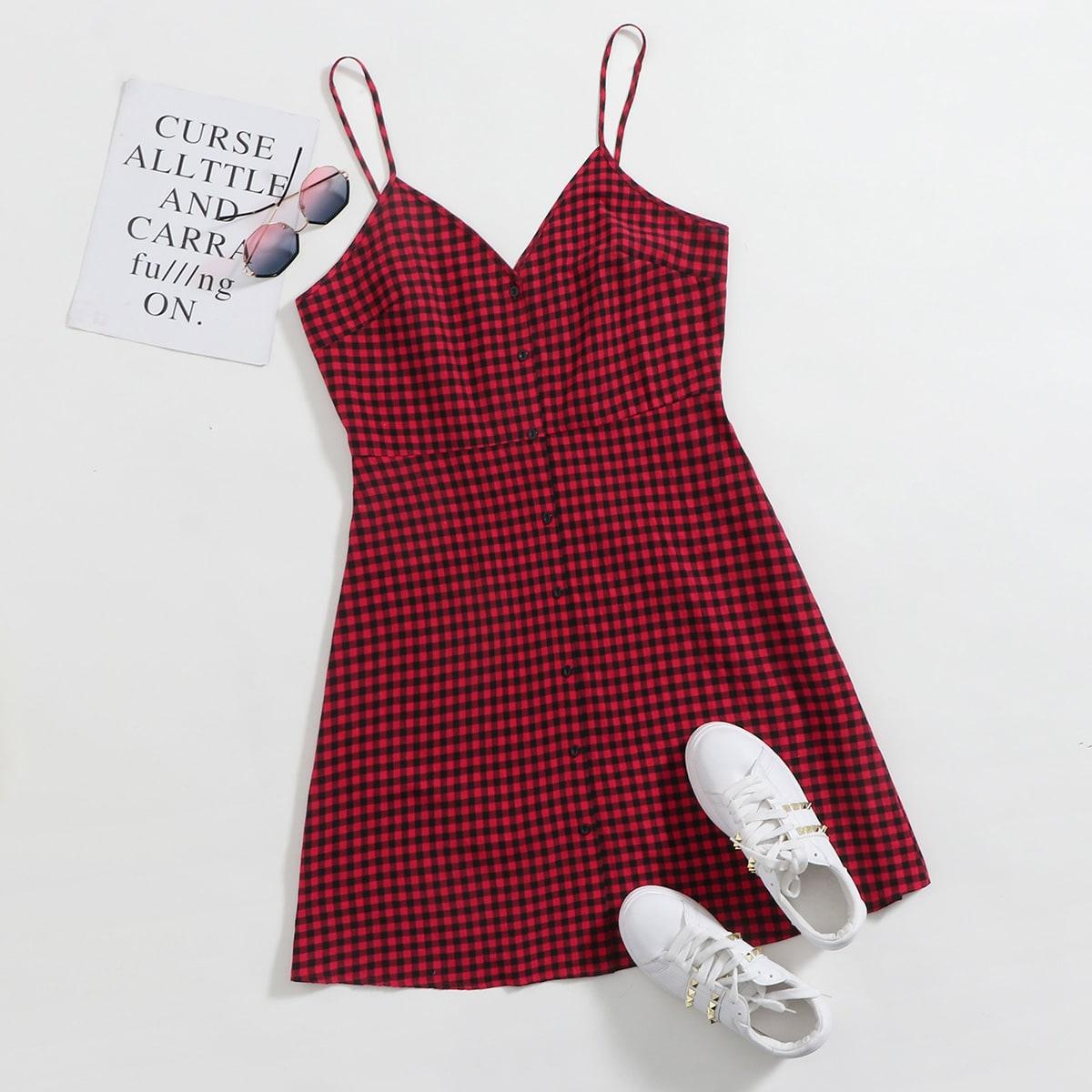 SHEIN / Rot Knöpfen vorn Gingham Lässig Kleider Große Größen