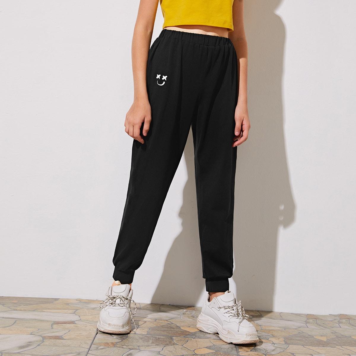 Спортивные брюки с мультяшным принтом для девочек от SHEIN
